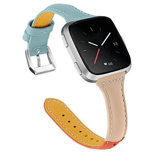 Jennyfly Versa 3 - Correa de repuesto para reloj deportivo de piel auténtica con hebilla de metal ajustable de 5.5 a 8.1 pulgadas, compatible con Fitbit Sense/Versa 3, color azul claro