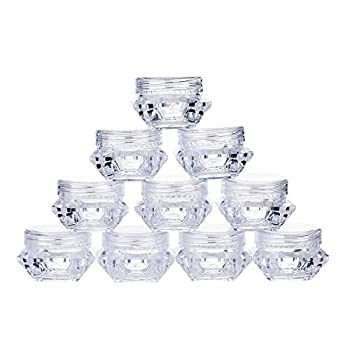 TMO 100pcs 5 Gram Clear Jars Plastic Jars Plastic Cosmetic Container Empty Cosmetic Sample Containers Transparent 5G/5ML Plastic Pot Jars for Eye Shadow,Nails,Powder,Paint