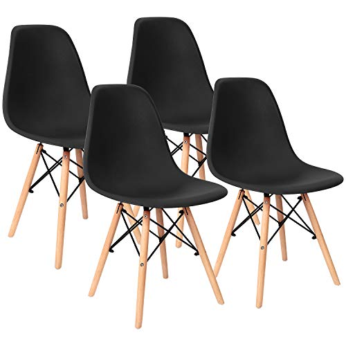 Furniwell Pre Assembled Modern Dining Chairs Mid Century Kitchen Chair Set Eiffel DSW Side Chair Indoor Plastic Shell Chairs Eames Set of 4 (Grey)