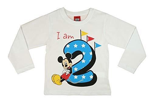 Jungen Baby Kinder 2. erster Geburtstag Langarm T-Shirt 2 Jahre Baumwolle Birthday Outfit GRÖSSE 92 98 Mickey Mouse Disney Weiss Blau Babyshirt Oberteil Hemd Polo Farbe Blau, Größe 92