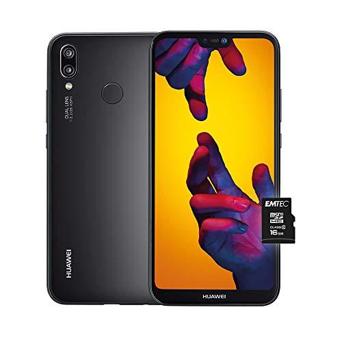 """Huawei P20 Lite (Black) Smartphone più MicroSD HC 16GB Class 10, Memoria 64 GB, Display 5.84"""" Full HD+, Doppia fotocamera posteriore 16+2 MP, CPU Octa Core dinamico con IA [Versione Italiana]"""