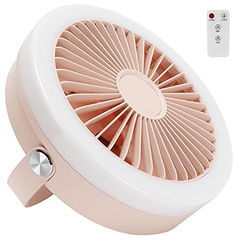 Ventilador eléctrico Inteligente, Ventilador de enfriamiento de Escritorio con Control Remoto Mini Ventiladores de Mesa Recargables USB con Velocidad de 3 velocidades para el hogar(Rosa)