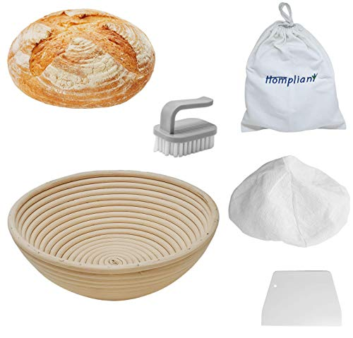 10 Inch Round Banneton Bread Proofing Basket Set (1 pack) | Natural Rattan Bread Proofing Basket kit for sourdough and bread making bowl – Ideal for Professional & Home Artisan Bread Bakers