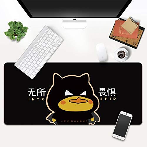 STDNJQ XXL Alfombrilla de ratón Pato negro de dibujos animados lindo 800x300x3mm/31.5x11.8x0.118 inch alfombrilla de ratón grande con motivo Base de goma antideslizante, repelente al agua, superficie