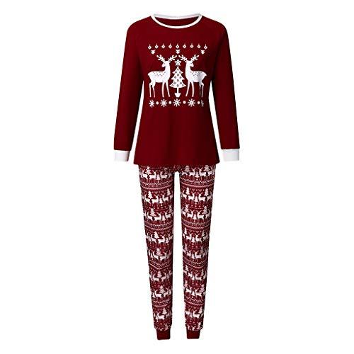 Weihnachten Schlafanzug,Wein Rot Weihnachten Fawn Letter Print Top + Pants Pyjamas,Langarm Weihnachten Pyjama Set,Weihnachts Pyjama Familie Set Baumwolle Damen Herren Mädchen Set (Mama, L)