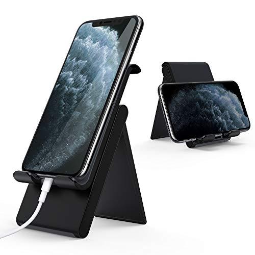 Lamicall Handy Ständer, Handy Halterung Verstellbare - Faltbarer Halterung, Halter für iPhone 12 Mini, 12 Pro Max, 11 Pro, Xs Max, XR, X, 8, 7, 6P, SE, Samsung S10 S9 S8, Huawei, Smartphone - Schwarz