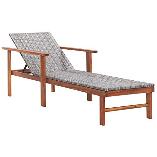 vidaXL Solid Acacia Wood Sun Lounger Weather-Resistant Swimming Pool Patio Garden Outdoor Seating Sun Bed Daybed Chaise Lounge Poly Rattan Grey