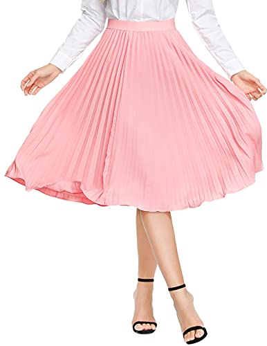 KANCY KOLE Women Plus Size Pleated Midi Skirts Casual A Line Ankle Skirt Below Knee Length (Pink,XXL)