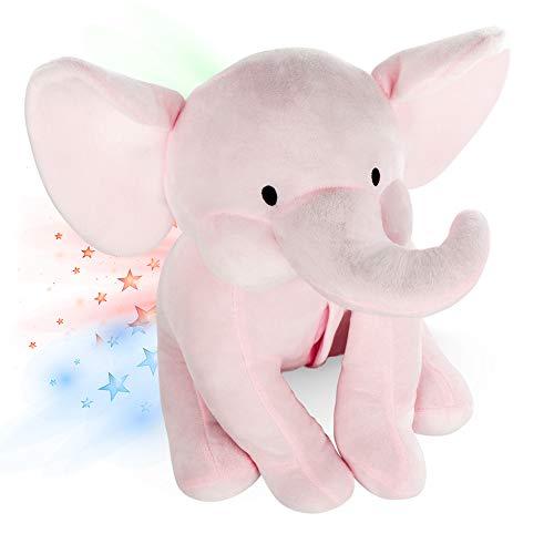 Elefante Peluche Bebe, Luz De Proyector Luces Estrellas Infantil, Lampara Elefante - INNObeta Elley Rosa