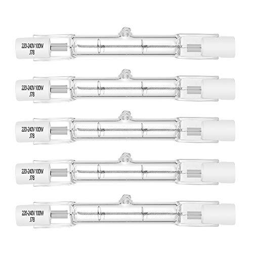 Halogenlampe R7S 78mm T3 100W 1000lm Warmweiß 2700K J Typ Lineare doppelendige Flutlichtlampe 230V für Arbeit,Sicherheit,Stehlampen (5er Pack)