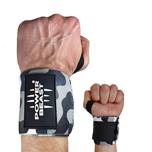 Power Beast Muñequeras Crossfit | Wrist Wraps Elásticas para Pesas, Gym, Fitness, Calistenia,...