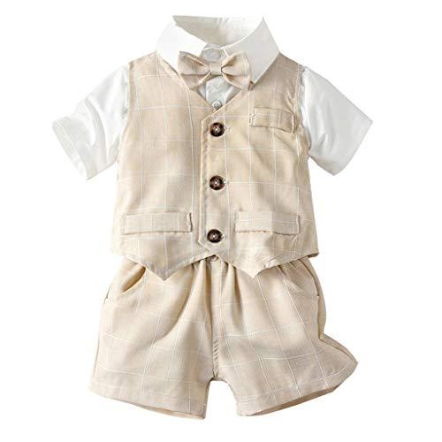 Cuteelf Baby Anzug Baby Boy Gentleman Fliege T-Shirt Karo gestreifte Weste + Shorts Anzug Kinder Kurzarm Fliege einfarbig Hemd Hemd Karo gestreifte Weste Shorts dreiteilig