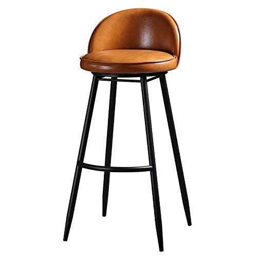 QWEA Taburete de Bar, Taburete Alto Industrial Moderno, con cómodo Respaldo y reposapiés de Altura Media, rotación de 360 °, Altura del Asiento de 65 cm / 75 cm, multifunción (Color: Naranja, Tam