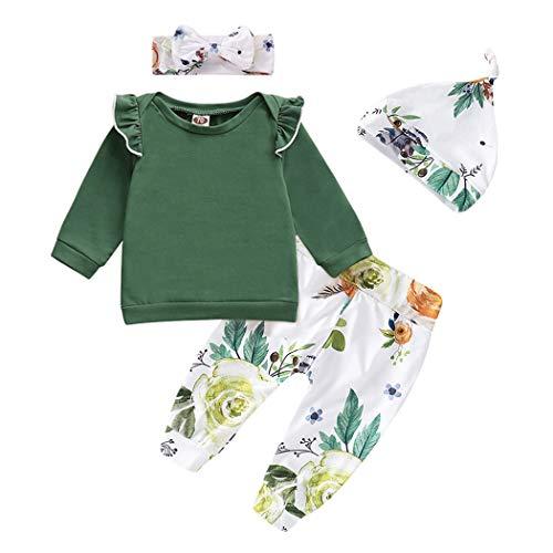 Edjude Conjuntos de Ropa para Niñas bebés Volantes de Manga Larga Camiseta Recién Aacida Pantalones Superiores 4 Piezas Sombrero con Diadema Floral 12-18 Meses Verde Oscuro