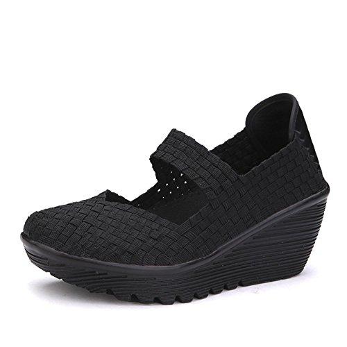 Dayout, sandali estivi da donna con zeppe traspiranti Mary Janes, con punta chiusa e plateau, Nero (Nero ), 39 EU