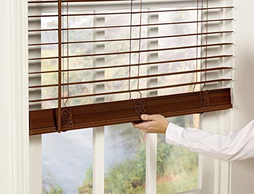 DEZ Furnishings QJBK710480 2 in. Cordless Faux Wood Blind, 71W x 48L Inches, Dark Oak
