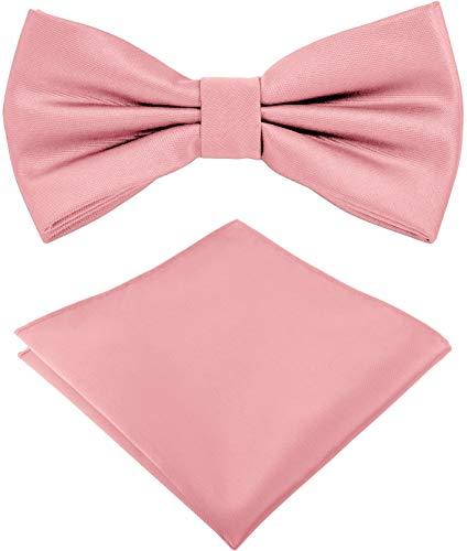 Helido Fliege für Herren mit Einstecktuch, 12 verschiedenfarbige Accessoires-Sets passend zu Hemd und Anzug oder Smoking + Geschenkbox (Zartrosa)