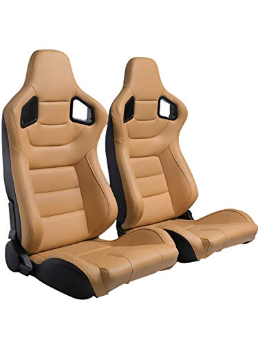 2PCS Racing Seats, Universal PVC Leather Bucket Seats Sport Pair Adjustable Seats with Sliders (Black & Beige/Tan Brown)