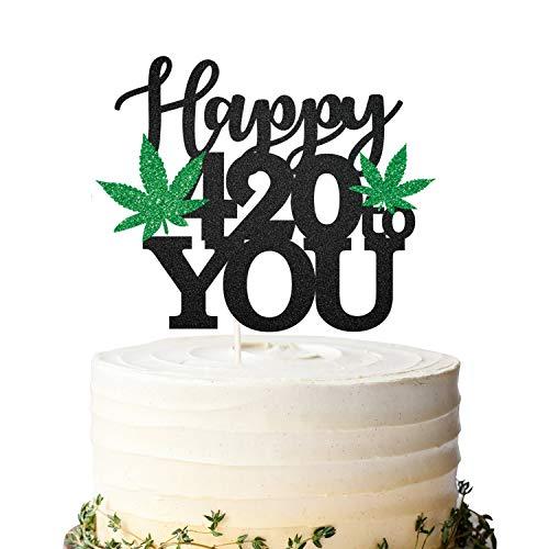 Black Glitter Happy 420 to You Birthday Cake Topper, Marijuana Birthday Cake Topper, 420 Birthday, Dope Birthday Party Marijuana Decoration