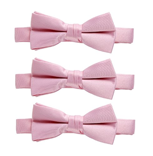 Sportoli174; Kids Baby 3-Pack Adjustable Solid Color Banded Satin Pre-tied Bow Ties - Pink