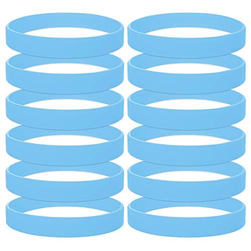 12 Stück Silikon Jelly Armbänder für Jugendliche, Gummi Armreifen, Partyzubehör- Cambridgeblau