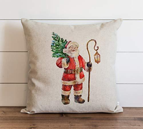 Anyuwerw - Funda de almohada navideña, diseño de Papá Noel con linterna, decoración de casa de campo o Papá Noel