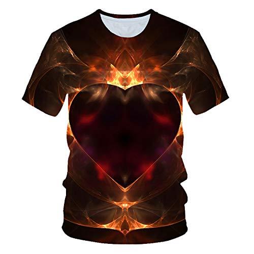 Blwz Hommes T-shirt vele Courtes 3D en Forme de Coeur Rouge Foncé Imprimé Rue d'été Unisex Club Adolescent gelegenheid T-shirt met vele Mi-Longues vacances Plage Hip Hop