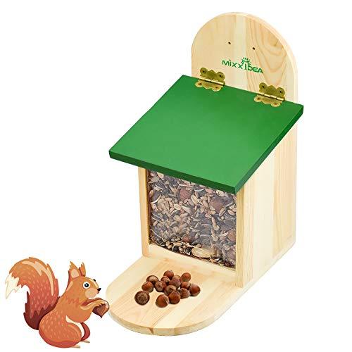 KUPINK Squirrel Feeder Squirrel Box Wooden Feeding Station 23*26*15CM