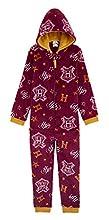 HARRY POTTER Pijama Niño Entero, Pijamas Niños de Una Pieza Casa Gryffindor, Pijamas Enteros de Forro Polar, Regalos para Niños Niñas Edad 7-14 Años (Granate, 11-12 años)