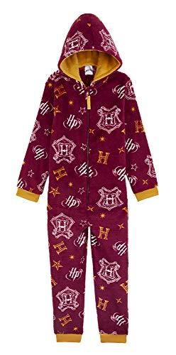 Harry Potter Combinaison Pyjama Enfant Officiel - Surpyjama Garcon ou Fille en Polaire Noir Et Couleurs De Gryffondor avec Capuche Taille 7-14 Ans (Bordeaux, 13-14 Ans)