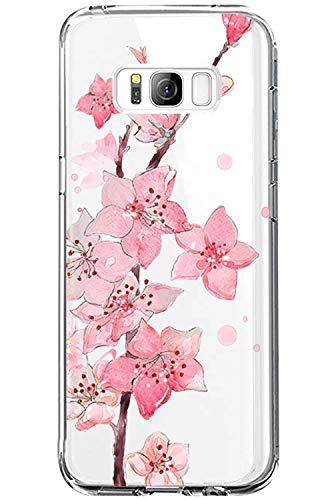 Zater Kompatibel mit Samsung Galaxy S8 Hülle,Durchsichtige Crystal Clear Schutzhülle Für Samsung Galaxy S8 Silikon Handyhülle TPU Case Cover für Samsung Galaxy S8 Blumen Flower