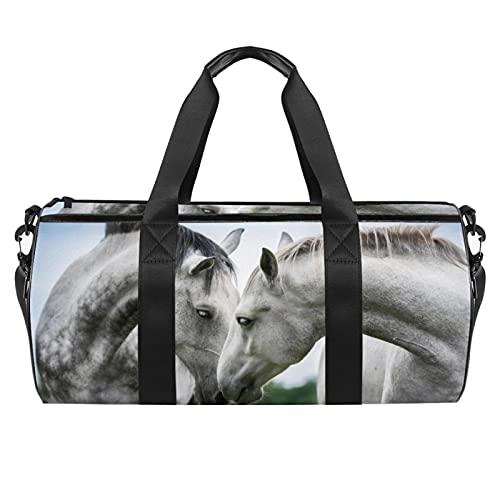 Borsone sportivo da palestra, borsa da danza media leggera e resistente, borsa da viaggio per uomini e donne vintage farfalla, Cavallo bianco 9, 45x23x23cm,