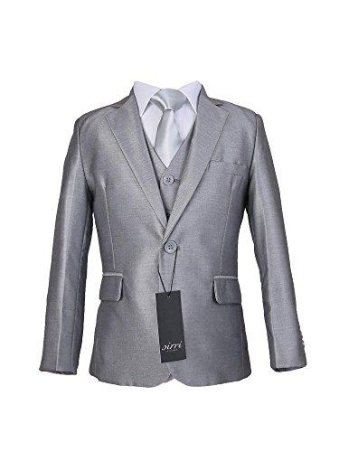 Jungen Slim Fit Anzug 5 Teilig mit silberner Krawatte in Hell Silber 2 Jahre