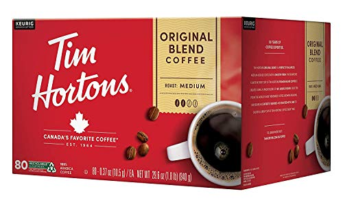 Tim Hortons Original Blend, Medium Roast Coffee, Single-Serve K-Cup Pods for Keurig Brewers, Recyclable, 80 Count