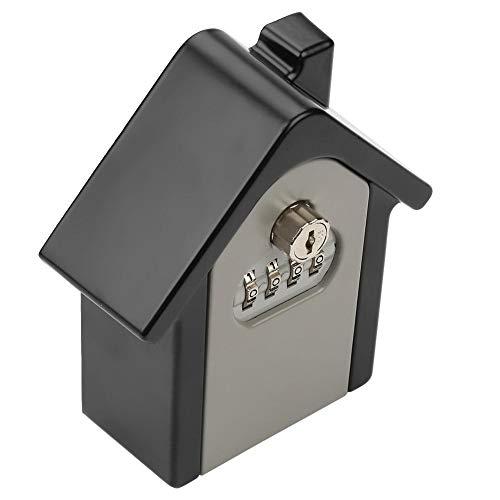 Caja de llaves, caja de seguridad, caja de cerradura con llave, aleación de aluminio, doble contraseña, cerradura con llave, caja de almacenamiento segura montada en la pared