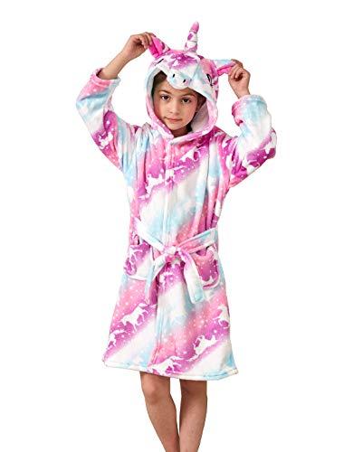 Ksnnrsng Kinder Sanft Einhorn Mit Kapuze Bademantel Nachtwäsche - Einhorn-Geschenke für Mädchen (Rosa Einhorn, 6-7 Jahre)