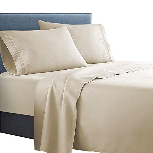 Clara Clark Supreme 1500 Collection 5pc Bed Sheet Set - Split King Size, Beige Cream