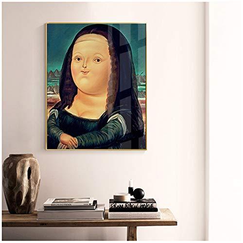 Pinturas Imprimir en lienzo Divertidos dibujos animados lindos Mona Lisa Carteles Famosos cuadros de pared para sala de estar-50x70cm (19.7