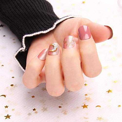 CLOAAE 24pcs/boxed Detachable Fake Nails Patch Waterproof and Strong Short Fingernail with Vertical Grain Paste Gold press on nails