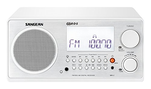 Sangean All in One AM/FM Alarm Clock Radio with Large Easy to Read Backlit LCD Display (White)