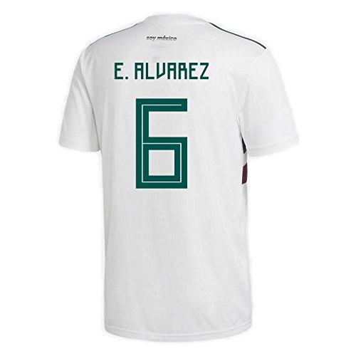 adidas Herren Trikot E. Alvarez #6 Mexiko Auswärts Russland 2018, Herren, Weiß/Collegiate Green/Collegiate Burgund, X-Large