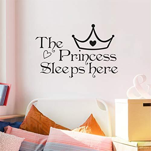 Pegatinas de pared de dibujos animados – La princesa duerme aquí & corona, pegatinas de pared de PVC extraíble, DIY pared para decoración de la casa, para la habitación de la niña oficina guardería