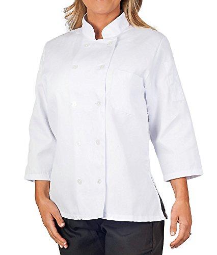 Womens White Classic ¾ Sleeve Chef Coat, L