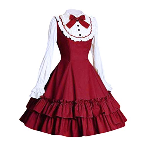 Lolita Kleid Damen Gothic Maid Kostüm Piebo Frauen Langarm Mini-Kleid Lace Up Bowknot Rüschen Mittelalter Kleider Oktoberfest Halloween Weihnachten Party Karneval Fasching Anime Cosplay Costume