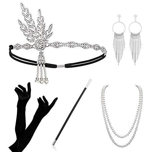 Atuka 1920er Jahre Zubehör Set Flapper Kostüm Charleston Accessoires für Damen 1920s Gatsby Jahre Stirnband Kopfschmuck Ohrringe Perlen Halskette Handschuhe Zigarettenspitze (Style #3)