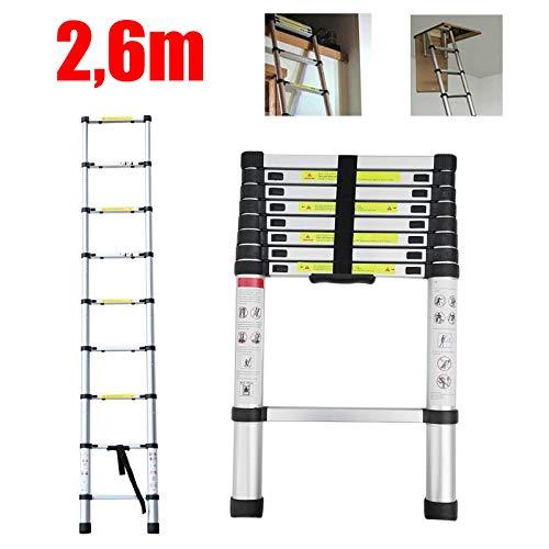 2,6m Leiter Ausziehbar Teleskopleiter Aluleiter für Wohnmobil/Dachboden/Büro/Warenhaus Mehrzweckleiter leicht zu tragen 150 Kg Belastbar