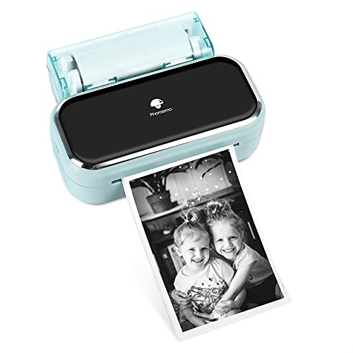 Phomemo M03 Handy Fotodrucker - Tragbarer Bluetooth Drucker Kompatibel mit iOS und Android, Schwarzweißdruck für Fotodruck, Journal, Listen, Kunsterstellung, Geschenk - Grün