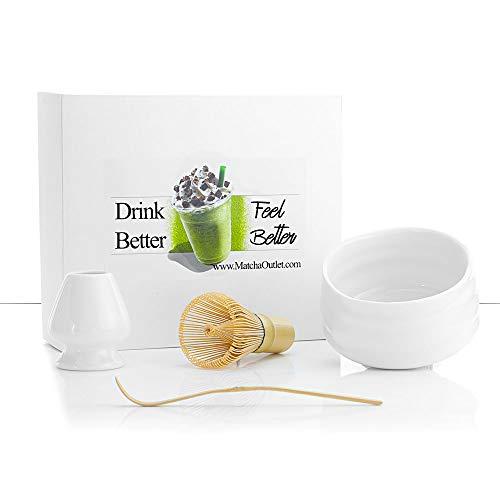 Ceremonial Matcha Starter Gift Set - White Handmade Bowl - Bamboo Whisk - Bamboo Scoop - Whisk Holder