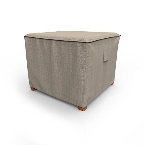 Budge P4A05PM1 English Garden Square Patio Table/Ottoman Cover Heavy Duty and Waterproof, Small, Two-Tone Tan