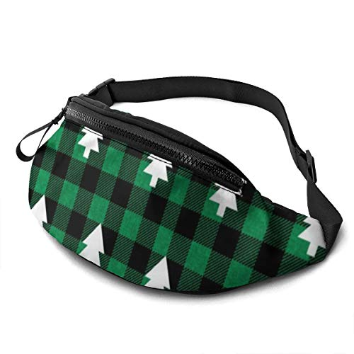 Buffalo Plaid Bäume Evergreen Tannenbaum Weihnachtsbäume grün Unisex Casual Hüfttasche Geld Bauchtasche mit verstellbarem Gürtel für Laufsport Klettern Reisen